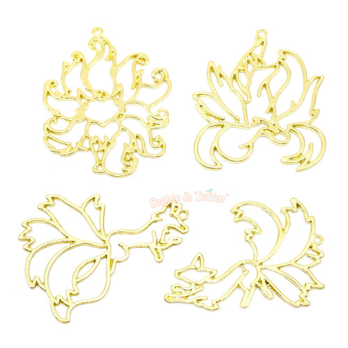 Nine Tails Theme Open Bezel Gold Set (4 pieces)