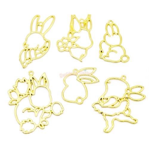 Bunny Theme Open Bezel Gold Set (6 pieces)