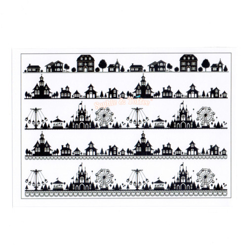 Theme Park Houses Silhouette Design Film (for UV Resin)