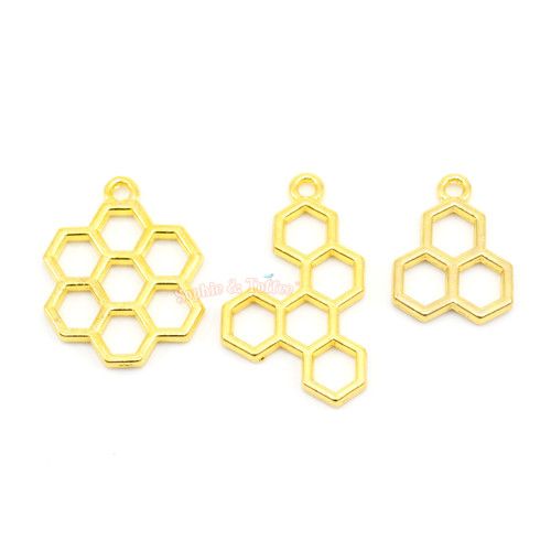 Bee Honey Comb Theme Open Bezel Charms (3 pieces)