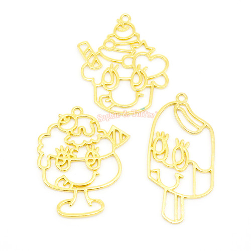 Ice Cream Theme Open Bezel Charms (3 pieces)