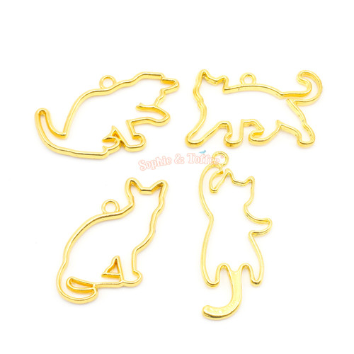Kitty Cat Theme Open Bezel Charms (4 pieces)