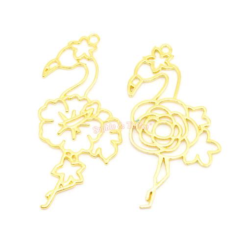 Flamingo Theme Open Bezel Charms (2 pieces)