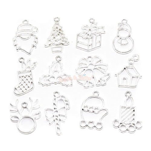 Christmas Silver Open Bezel Charms (12 pieces)