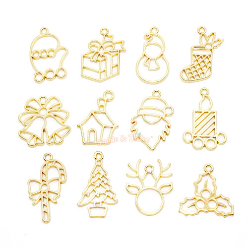 Christmas Gold Open Bezel Charms (12 pieces)