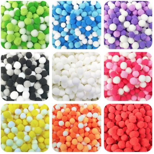 Colorful Pom Pom Balls Mix (approx. 80 pieces)