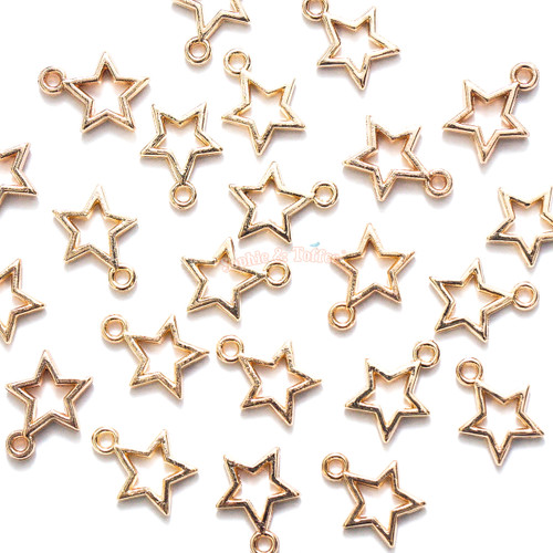 Light Gold Mini Magical Stars Open Bezel Charms (30 pieces)