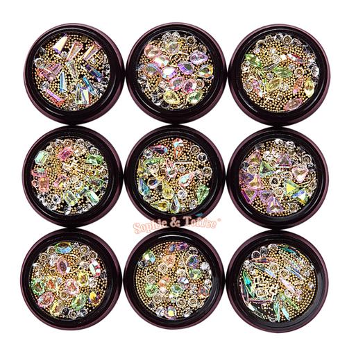 Iridescent Gem Rhinestones Gold Beads Mix