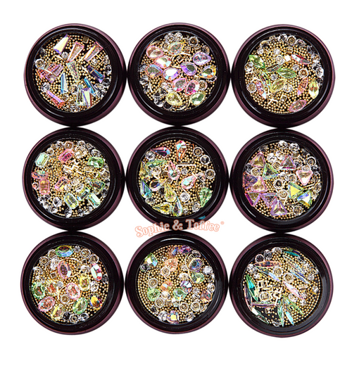 Iridescent Gem Rhinestones Gold Beads Mix