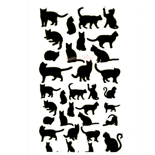 Black Kitty Silhouette Clear Resin Film