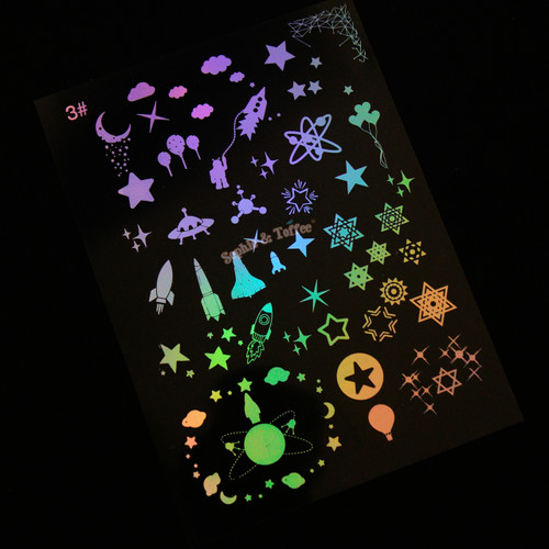 Space Galaxy Holographic Clear Resin Film