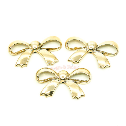 Gold Chrome Ribbon Cabochon (4 pieces)