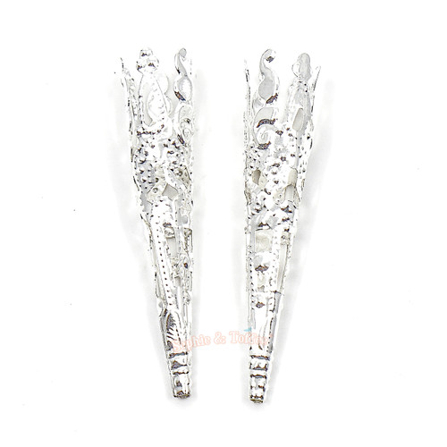Bright Silver Filigree Jewelry Setting Crystal Ice (30 pieces)