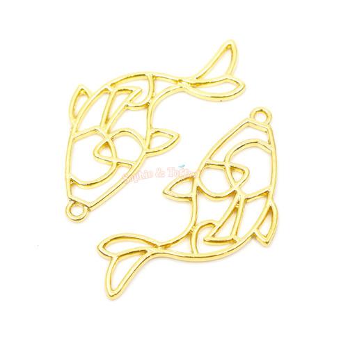 Koi Fish Open Bezel Charms (4 pieces)