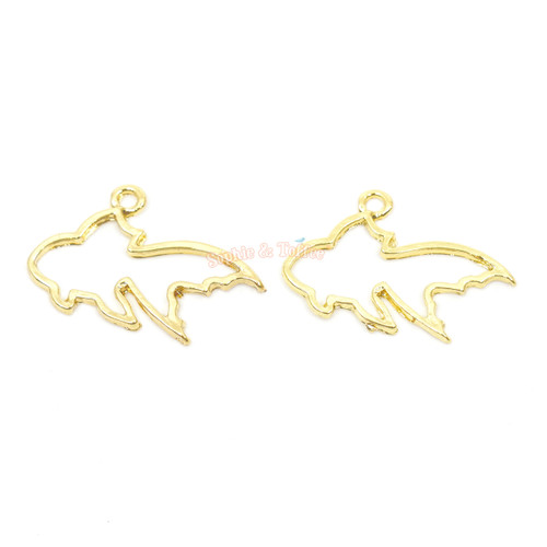 Small Goldfish Open Bezel Charms (4 pieces)
