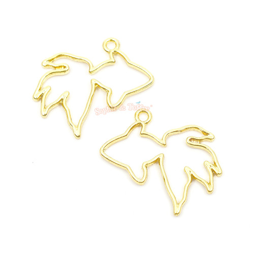 Small Goldfish Fin Open Bezel Charms (4 pieces)