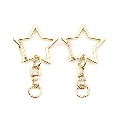 Light Gold Star Snap Clip Key Chain (3 pieces)