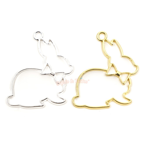 Bunny Rabbit Open Bezel Charms (4 pieces)