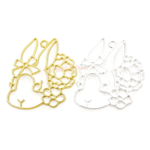 Bunny Rose Open Bezel Charms (4 pieces)