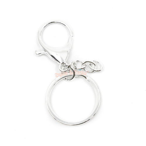 Silver Key Chain Ring with Swivel Ring Short Chain (4 pieces)