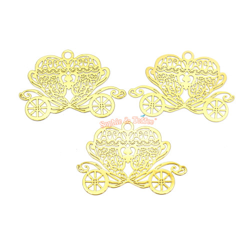 Princess Carriage Theme Metal Charm (3 pieces)