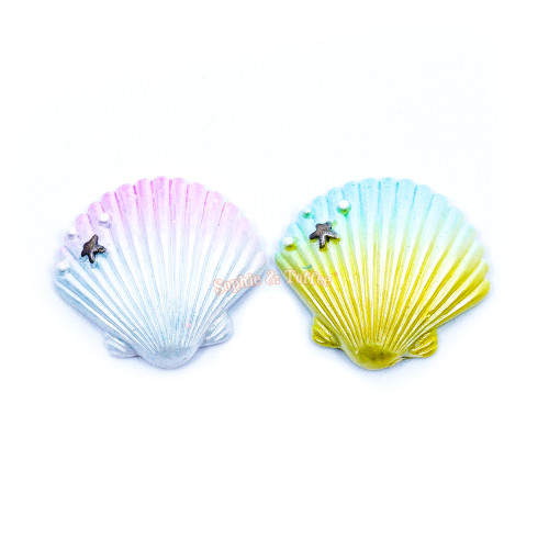 Seashell Flat Back Resin Cabochon (4 pieces)