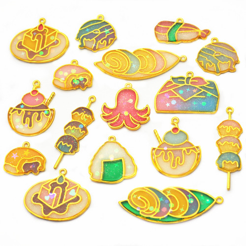 Japanese Food Theme Open Bezel Charms (10 pieces)
