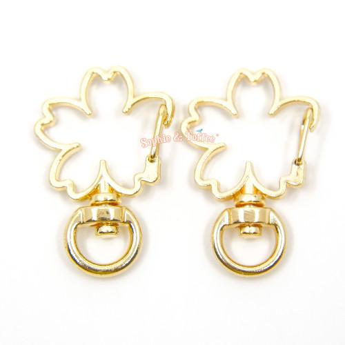 Gold Sakura Flower Snap Clasp Ring (4 pieces)