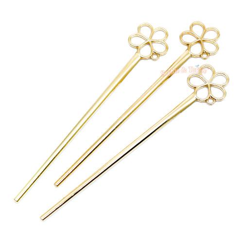 Plum Blossom Open Bezel Hair Stick (3 pieces)
