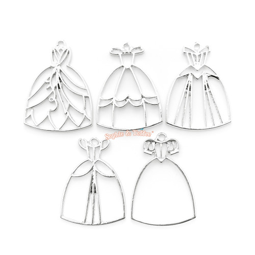 Silver Princess Dress Theme Open Bezel Set (5 pieces)