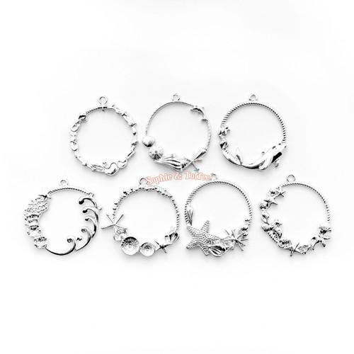 Silver Ocean Theme Open Bezel Set (7 pieces)