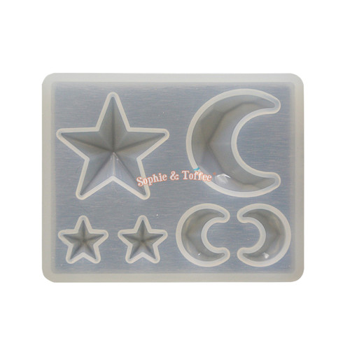 Faceted Moon & Stars Silicone Mold (from Japan)