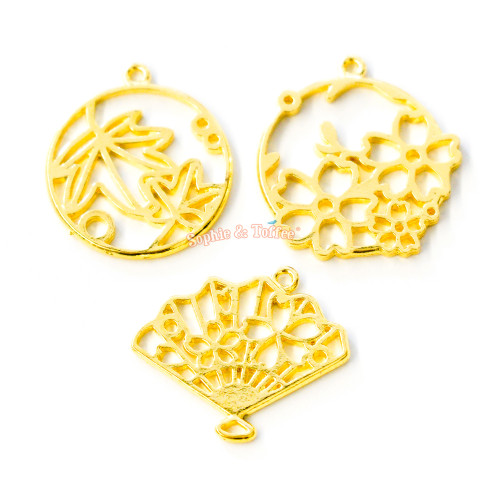 Flower Theme Open Bezel Charm (3 pieces)