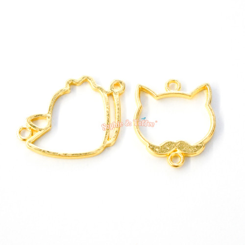 Kitty Face Open Bezel Charm (4 pieces)