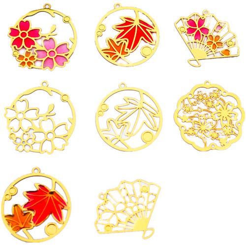 Sakura Flowers Theme Metal Bookmark Charm (4 pieces)