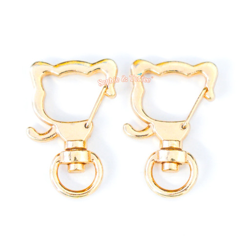 Gold Kitty Cat Snap Clip Swivel Ring (5 pieces)