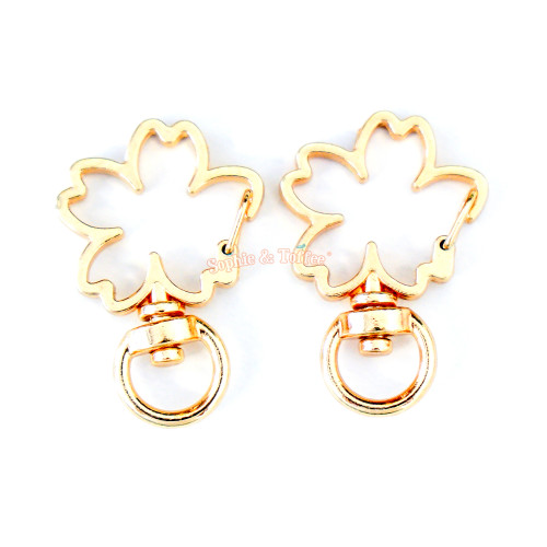 Gold Sakura Flower Snap Clasp Ring (5 pieces)