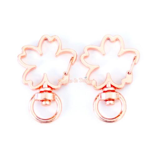 Rose Gold Sakura Flower Snap Clasp Ring (5 pieces)