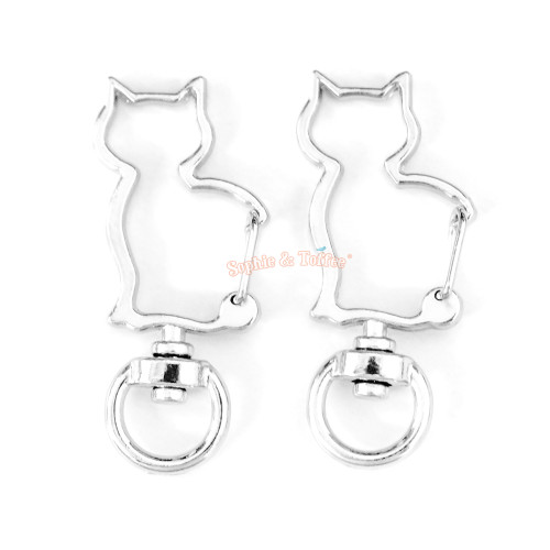 Silver Kitty Snap Clasp Swivel Ring (4 pieces)