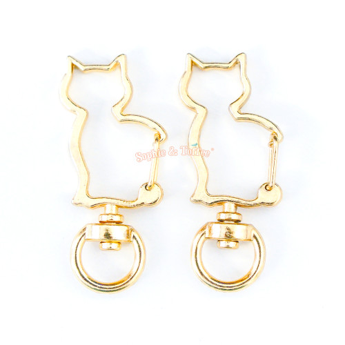 Gold Kitty Snap Clasp Swivel Ring (4 pieces)