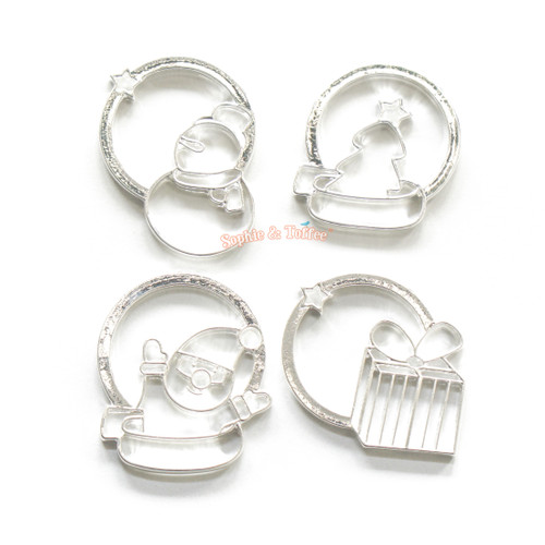 Christmas Theme Silver Bezel Charm (4 pieces)