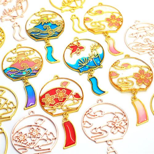 Japanese Windchime Theme Rose Gold Bezel Charms (4 pieces)