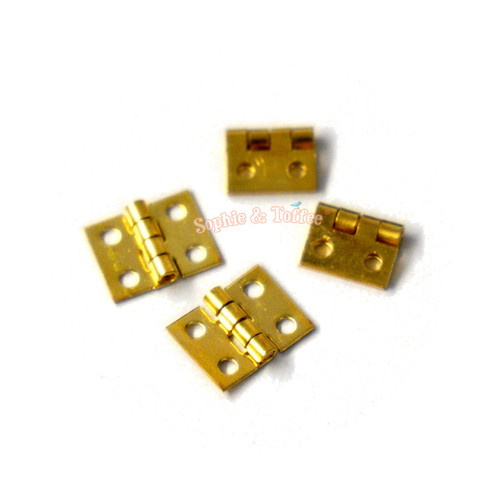 Gold Miniature Hinges with Screws (10x8mm) (20 pieces)