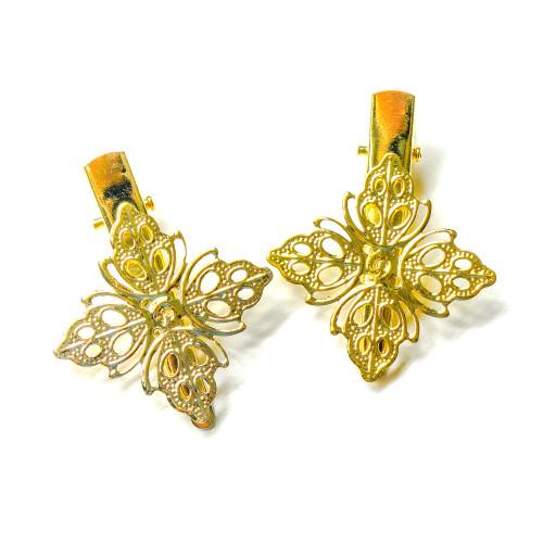 Gold Filigree Flower Hair Pins (6 pieces)