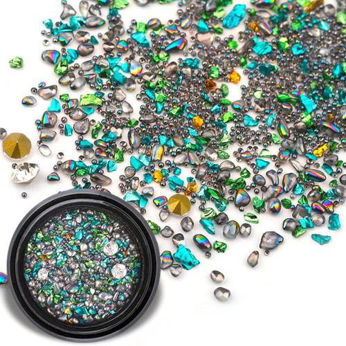 Tiny iridescent Turquoise Black Gems