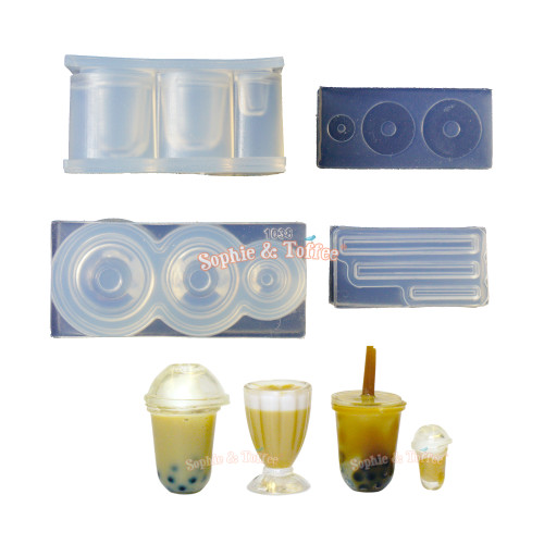 3D Miniature Bubble Tea Cup Silicone Molds