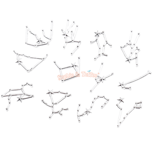 Silver Galaxy Constellations Resin Embellishments (24 pieces)
