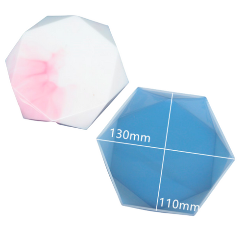 Faceted Hexagon Display Tray Silicone Mold