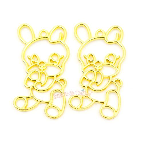 Kawaii Bunny Open Bezel Charm (3 pieces)