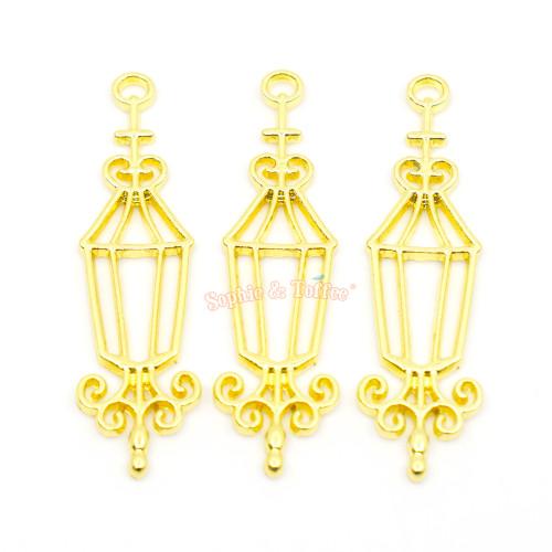 Halloween Lamp Open Bezel Charm (3 pieces)